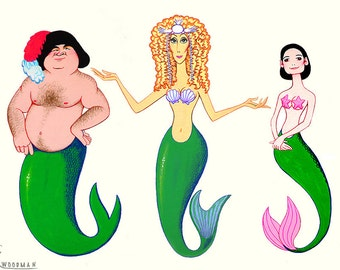 MERMAIDS Cher, Bob Hoskins and Winona Ryder original acrylic paintings by Disney Artist Dave Woodman