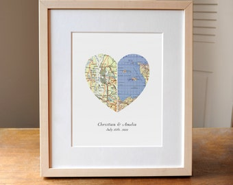 Heart Map, Wedding Gift, Anniversary Gift, Engagement Gift, Custom Map Art, Custom Wedding Art, Personalized Wedding Gift