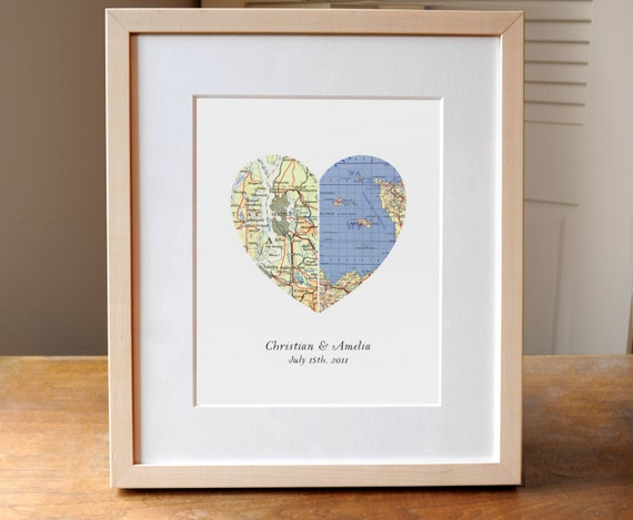 Heart map wedding gift anniversary gift engagement gift like this item negle Choice Image