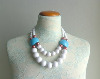 White turquoise colorful chunky necklace modern tribal statement bib necklace