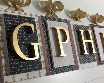 GPHI Letters,Sorority Letters,Sorority Gifts, Wooden Letters, Nursery Letters, Pink and Gold Wall Letters, Wood Letters