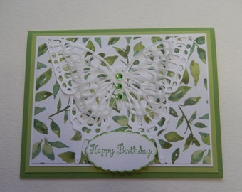 3-D White Butterfly Birthday Card