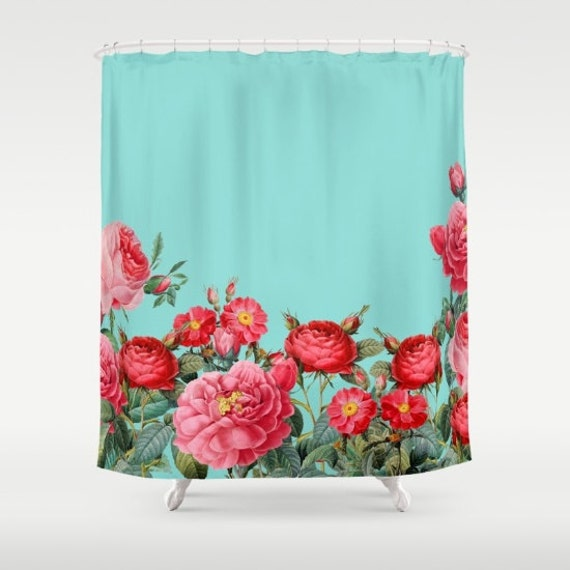 Floral Shower Curtain Roses Red Turquoise Bright Bold