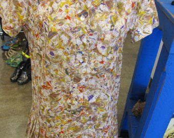 Vintage Floral Pleated Skirt Dress Size 14.5