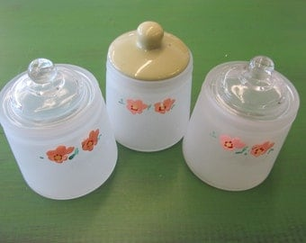 Set of 3 Cute Floral Glass Apothecary Jars