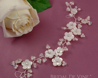 "Beautiful Handmade Bridal Hair Vine  8.5"" Pearls & Crystals UK with CRYSTALLIZED™ - Swarovski Elements"