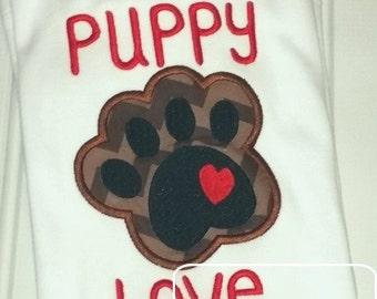 Puppy Love Paw Print Appliqué Design