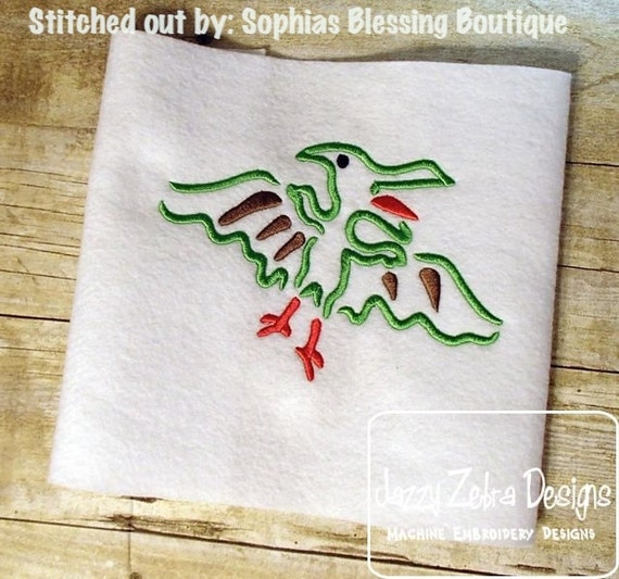 Dinosaur satin stitch outline embroidery design dino