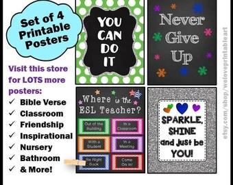 ESL Teacher, Classroom Decor, English as a Second Language, ELL, ESL Gift, Printable Posters, Classroom Decorations, Door Signs