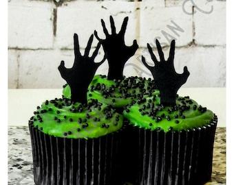 20 Handmade Black Halloween Zombie Hand Die Cut Cupcake Topper// Cake Decoration// Embellishment// Scrapbooking// DIY