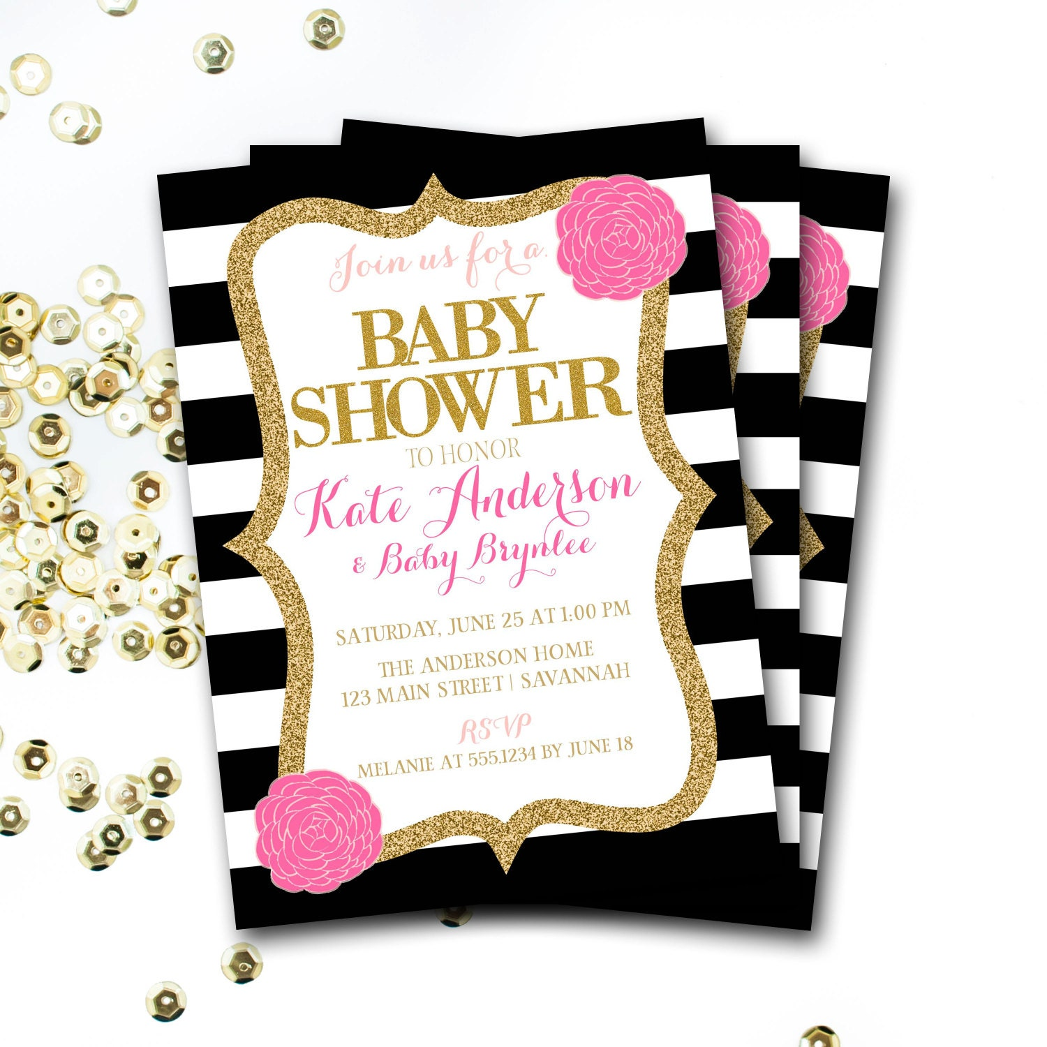 Pink Black And White Baby Shower Invitation, Pink And ...