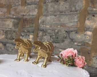 Set of TWO Dinosaur Wedding Cake Toppers