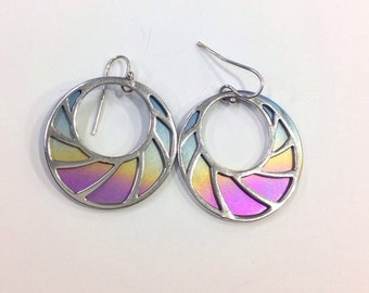 Silver and titanium drop earrings