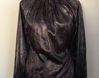 Vintage Turtleneck Blouse * Shirred Neckline * Paisley Print * Boho Chic * 80's * Librarian or Secretary Blouse * Size 6