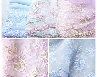 """2 yards Lace Trim Pink Tulle Pink Flower Embroidery Tulle Lace Trims 6.69"""" Wide"""