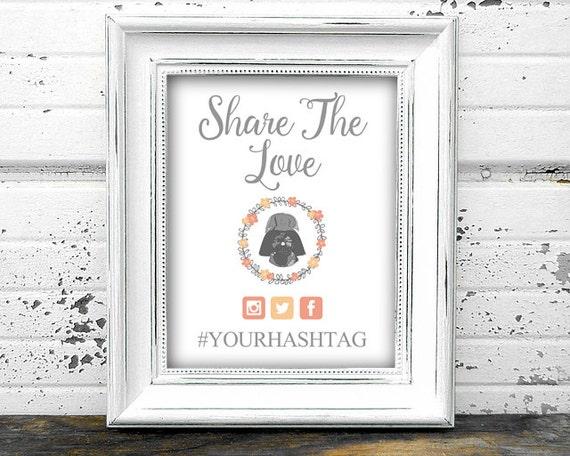 items similar to star wars wedding hashtag sign printable