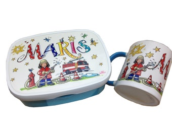 Set fire lunch box with name and fire Cup