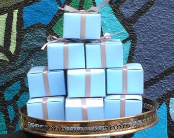 10 Powder Blue Favor Boxes 3x3x2 - Wedding Favors Birthday Party Favor Mini Box - DIY Wedding Bridal Shower Baby Shower Supplies