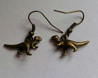 T-rex antique bronze earrings