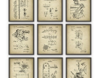 Forestry Patent Prints Set Of 9 - Forestry Poster - Woodworking - Timber - Forest Work - Logging Industry - Lumber - Forestry Equipment Art