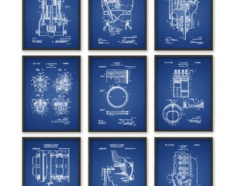 Chevrolet Patent Print Set Of 9 - Automobile Parts Design - Garage Mechanic - American Car Industry - Automobile Patent Design