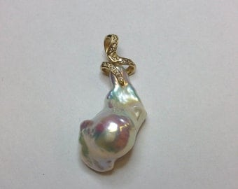 Natural Freshwater Pearl Pendant in 14K Yellow Gold!!