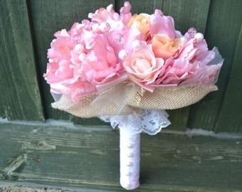 Vintage Pink Bridal Bouquet, Pink wedding flowers, Handmade bridal bouquet, artificial flowers bouquet,
