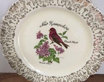 Vintage New Hampshire Plate Purple Finch Purple Lilac