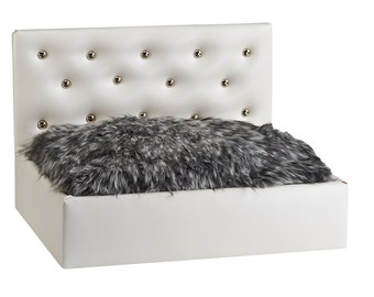 White Headboard Dog Bed, Pet Bed, Dog Bed, Pet Furniture, Luxury Dog Bed