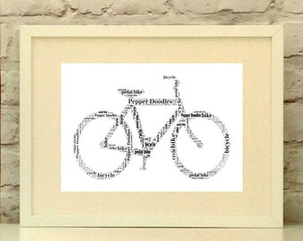 Fathers Day Bike Print, Dad Cyclist Print, Personalised Bicycle Print, Personalised Fathers Day Gift, Bike Gift, Cyclist Gift for Dad