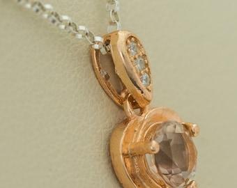 Champagne Sunstone Gold Heart Pendant 0.85ct (S2458P)