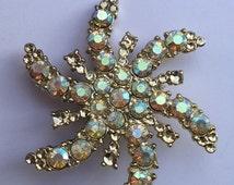 SALE Brooch Rhinestone Pinwheel Spiral Glitter Glam Vintage Mid Century