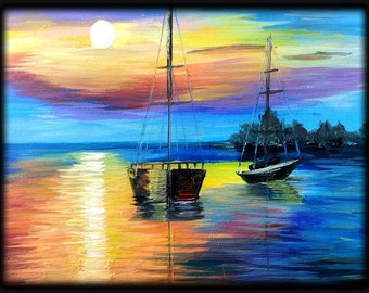 Sunset and Sailboat Oil Painting
