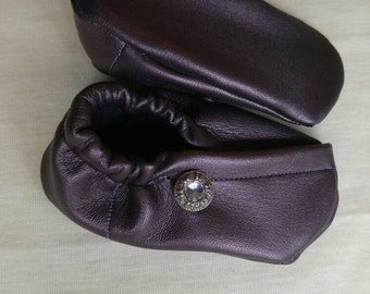 Plum Pearlescent Leather Kimono Style Baby Shoe 5 inches