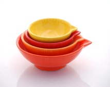 Ceramic Measuring Cup Nesting Prep Bowls Kitchen Hostess Gifts Serving Home Decor Handmade Pottery Ombre orange yellows