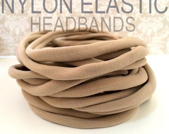 10 Pieces - Wholesale Nylon Headbands Thin One Size Fits All Baby Toddler Adult Non Dent Bulk Nylon Headbands | NUDE | TAN | BEIGE
