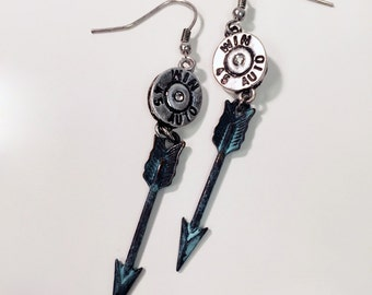 Winchester auto bullet arrow patina charm earring, gypsy cowgirl style