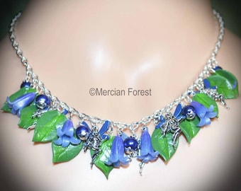 Bluebell Flower Fairy Necklace - Handmade Fairy Jewellery Inspired by the Fae, SIdhe, Wicca, Woodland Spring , and Summer Flowers