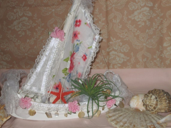 Coastal Decor Shabby Chic: Shabby Chic Sailboat. Shabby Chic Decor. Nautical Decor