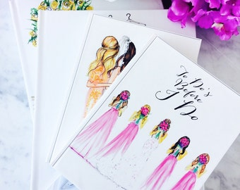 Journals (Custom Designs Available) (Fashion illustration journals-wedding journal - Bridal gift- Bridal Shower)