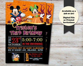 Mickey Halloween Party, Minnie Mouse Halloween Party, Kids Halloween Party, Birthday Party Invitation, Digital File or Printed Cards