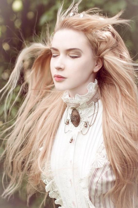 Steampunk Victorian Jewelry Set, Collar Choker, Lace Bracelets, Butterfly Lace Choker, Vintage Collar