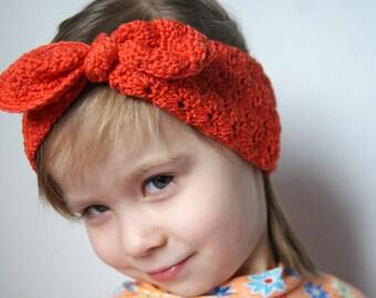 Toddler Head Warmer, Crochet girls Ear Warmer, Orange Headband for girls, knot headband