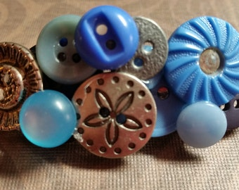 Small Vintage Button Hair Clip with Blue and Silver Buttons