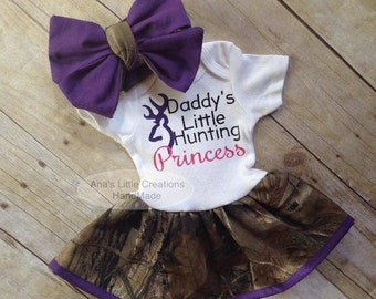 Camo Real Tree Body Suit Dress, RealTree Baby Dress Purple Trim and Self Tied Headwrap/Headband Purple