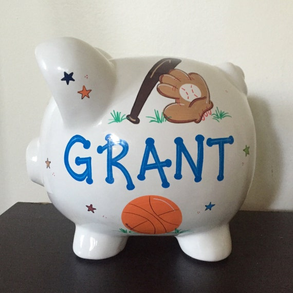 Personalized boys sports piggy bank - Coin banks for boys ...