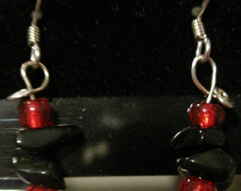 Black stone and red bead earrings