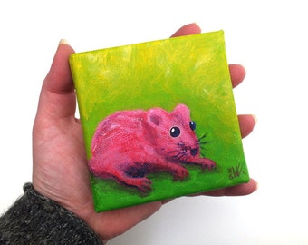 "Original Mouse Painting on Canvas, Acrylic Painting Mouse, Mini Canvas, Pink Mouse Art on Canvas, OOAK Small Artwork, 10x 10cm (3.9 x 3.9"")"