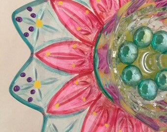 Georgi Girl Recycled Vintage Glass Plate Garden Flower Art Sun Catcher