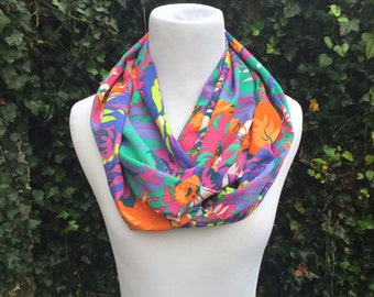 Infinity Scarf Bright Floral Purple Citrus